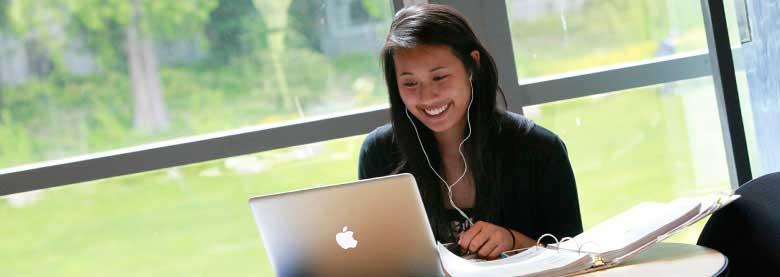 Girl on laptop blended learning