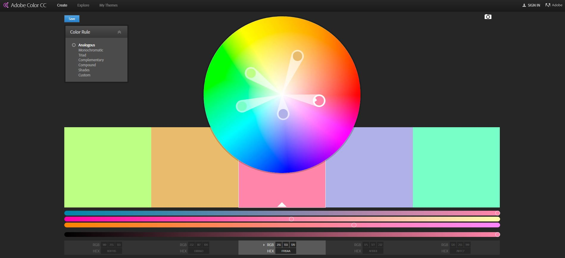 Adobe Colour Palette Tool